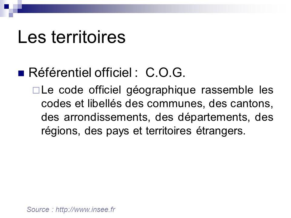 Les territoires Référentiel officiel : C.O.G. Le code officiel géographique rassemble les codes et libellés des communes, des cantons, des arrondissem