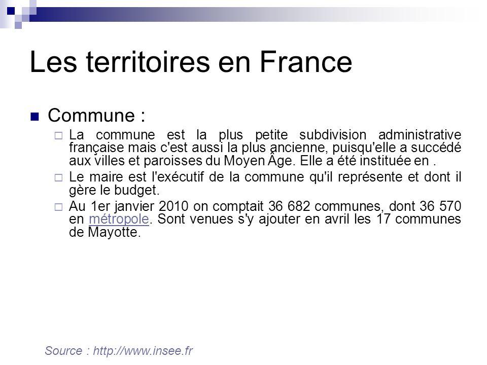 Les territoires en France Commune : La commune est la plus petite subdivision administrative française mais c est aussi la plus ancienne, puisqu elle a succédé aux villes et paroisses du Moyen Âge.