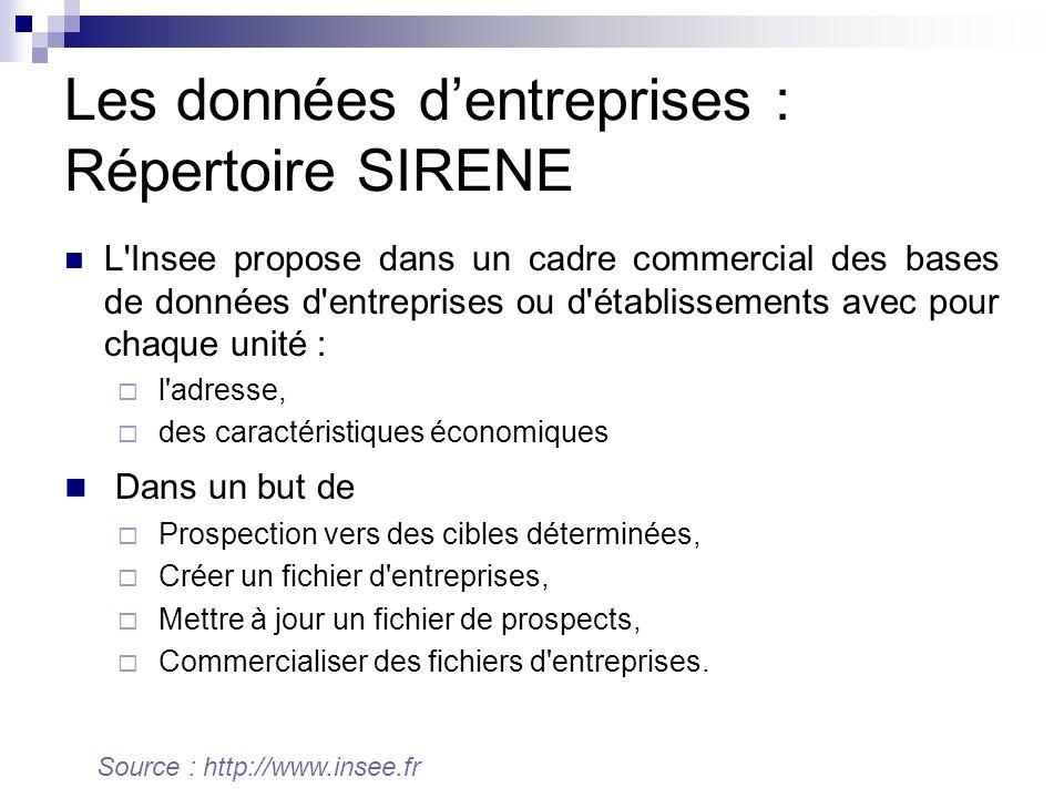 Les données dentreprises : Répertoire SIRENE L'Insee propose dans un cadre commercial des bases de données d'entreprises ou d'établissements avec pour