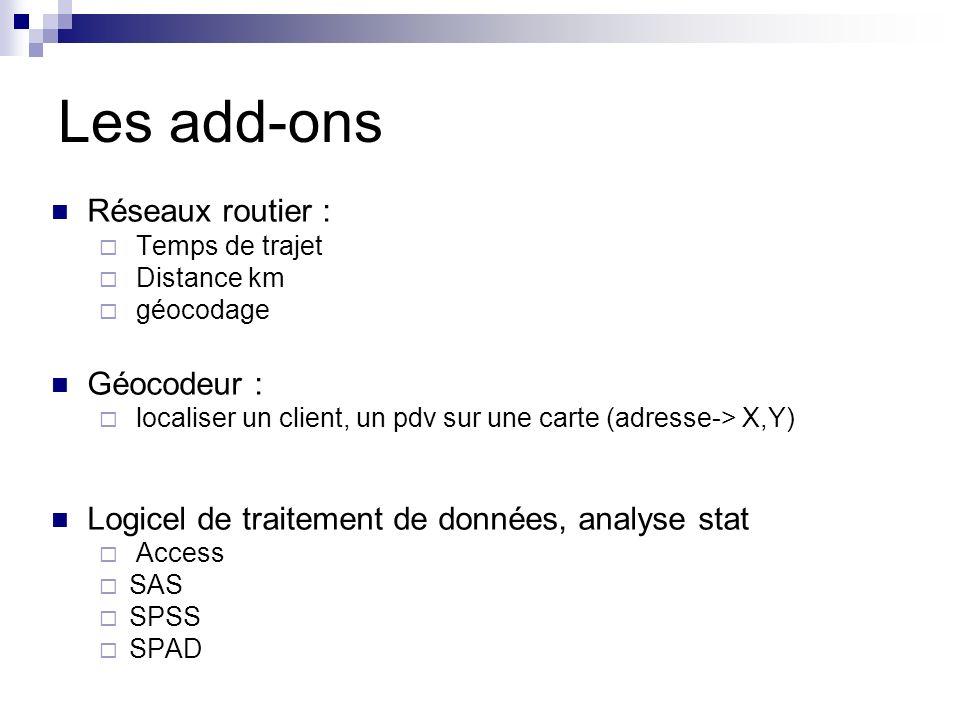 Les add-ons Réseaux routier : Temps de trajet Distance km géocodage Géocodeur : localiser un client, un pdv sur une carte (adresse-> X,Y) Logicel de traitement de données, analyse stat Access SAS SPSS SPAD
