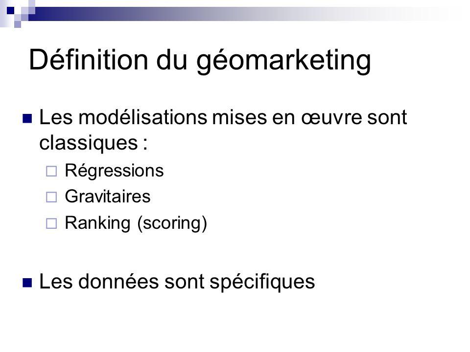 Les modélisations mises en œuvre sont classiques : Régressions Gravitaires Ranking (scoring) Les données sont spécifiques Définition du géomarketing