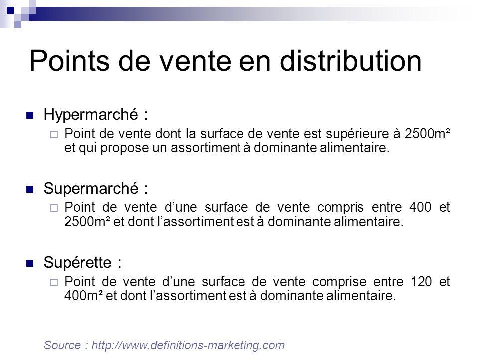 Points de vente en distribution Hypermarché : Point de vente dont la surface de vente est supérieure à 2500m² et qui propose un assortiment à dominante alimentaire.
