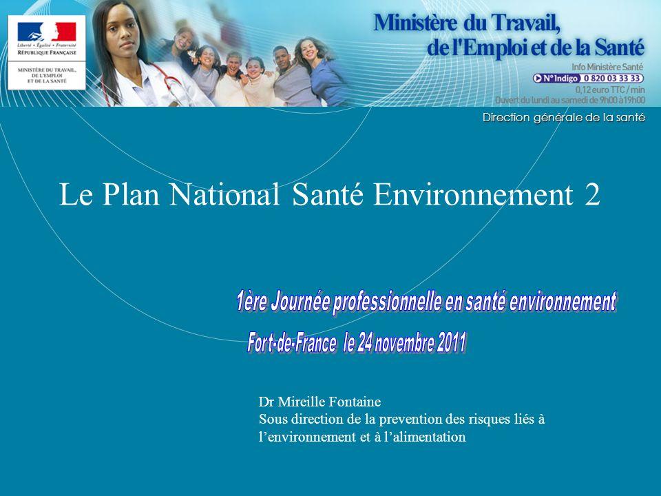 Direction générale de la Santé Le Plan National Santé Environnement 2 Direction générale de la santé Dr Mireille Fontaine Sous direction de la prevent