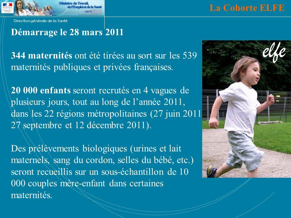 Direction générale de la Santé Démarrage le 28 mars 2011 344 maternités ont été tirées au sort sur les 539 maternités publiques et privées françaises.