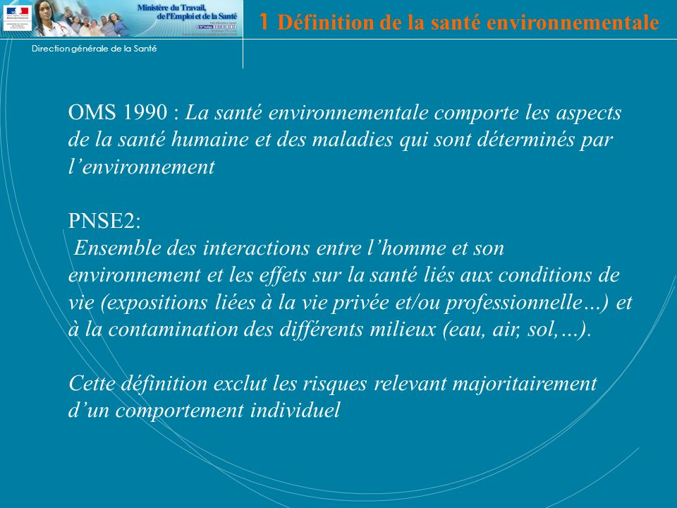 Direction générale de la Santé 1 Définition de la santé environnementale OMS 1990 : La santé environnementale comporte les aspects de la santé humaine