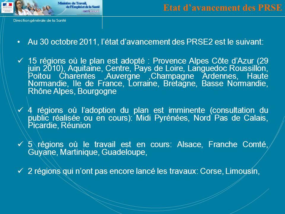 Direction générale de la Santé Etat davancement des PRSE Au 30 octobre 2011, létat davancement des PRSE2 est le suivant: 15 régions où le plan est ado
