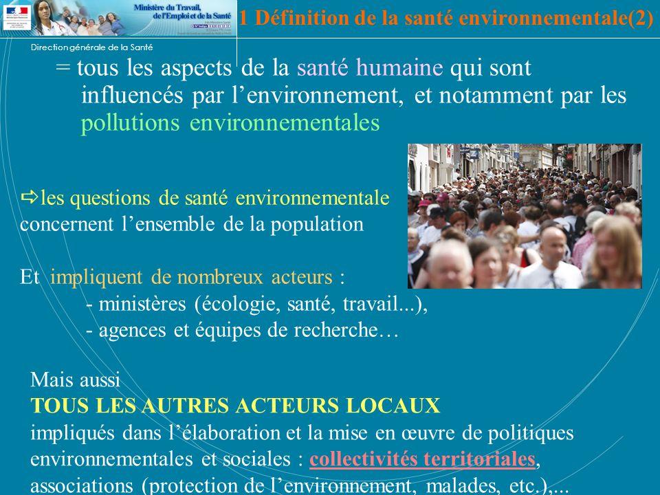 Direction générale de la Santé 1 Définition de la santé environnementale(2) = tous les aspects de la santé humaine qui sont influencés par lenvironnem