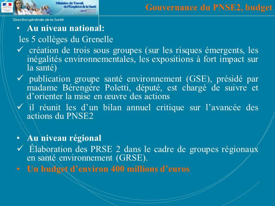 Direction générale de la Santé Gouvernance du PNSE2, budget Au niveau national: les 5 collèges du Grenelle création de trois sous groupes (sur les ris