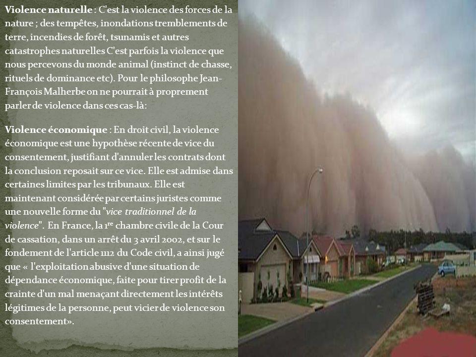 Violence naturelle : C'est la violence des forces de la nature ; des tempêtes, inondations tremblements de terre, incendies de forêt, tsunamis et autr