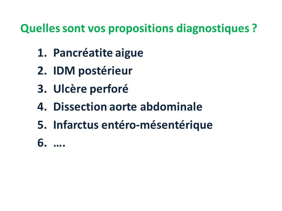 Quelles sont vos propositions diagnostiques ? 1.Pancréatite aigue 2.IDM postérieur 3.Ulcère perforé 4.Dissection aorte abdominale 5.Infarctus entéro-m