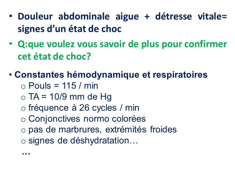 Douleur abdominale aigue + détresse vitale= signes dun état de choc Q:que voulez vous savoir de plus pour confirmer cet état de choc? Constantes hémod