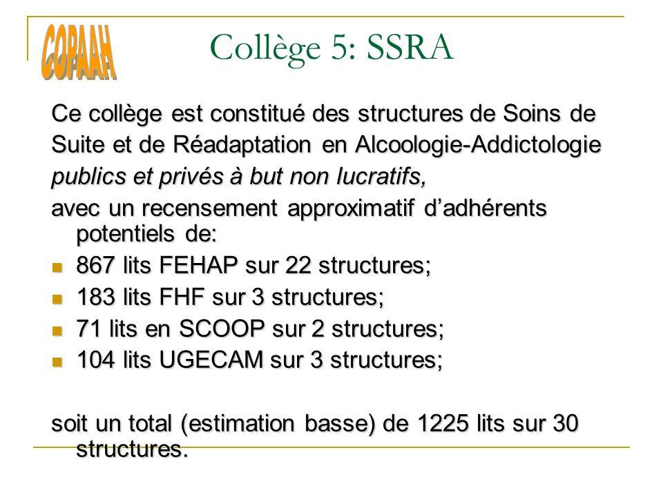 Collège 5: SSRA Ce collège est constitué des structures de Soins de Suite et de Réadaptation en Alcoologie-Addictologie publics et privés à but non lucratifs, avec un recensement approximatif dadhérents potentiels de: 867 lits FEHAP sur 22 structures; 867 lits FEHAP sur 22 structures; 183 lits FHF sur 3 structures; 183 lits FHF sur 3 structures; 71 lits en SCOOP sur 2 structures; 71 lits en SCOOP sur 2 structures; 104 lits UGECAM sur 3 structures; 104 lits UGECAM sur 3 structures; soit un total (estimation basse) de 1225 lits sur 30 structures.