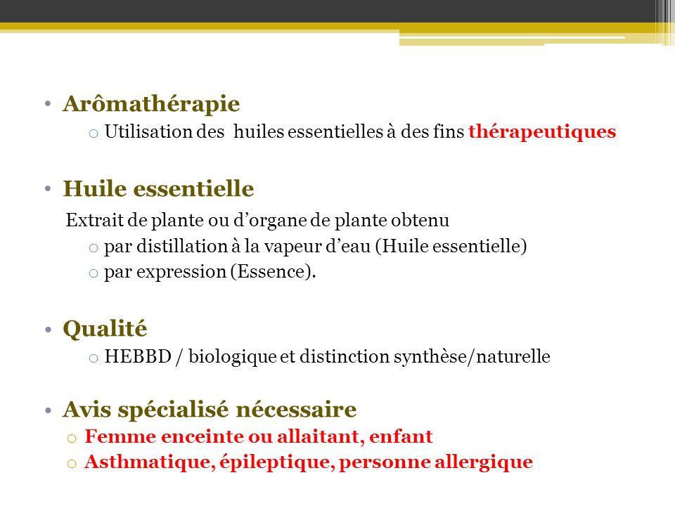 Arômathérapie o Utilisation des huiles essentielles à des fins thérapeutiques Huile essentielle Extrait de plante ou dorgane de plante obtenu o par di