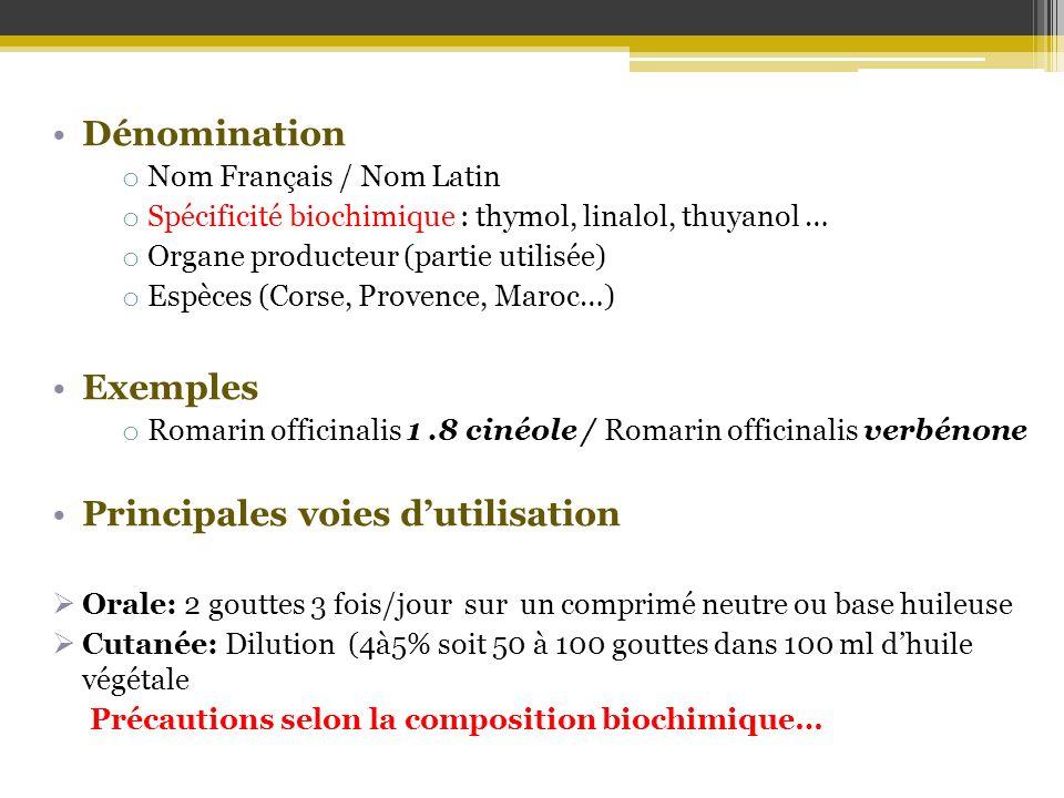 Dénomination o Nom Français / Nom Latin o Spécificité biochimique : thymol, linalol, thuyanol … o Organe producteur (partie utilisée) o Espèces (Corse