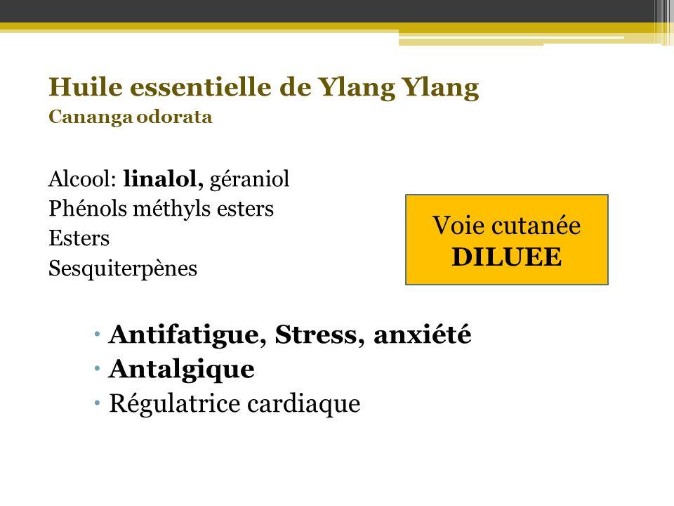 Huile essentielle de Ylang Ylang Cananga odorata Alcool: linalol, géraniol Phénols méthyls esters Esters Sesquiterpènes Antifatigue, Stress, anxiété A