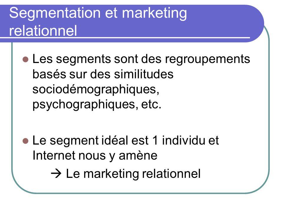 Segmentation et marketing relationnel Les segments sont des regroupements basés sur des similitudes sociodémographiques, psychographiques, etc. Le seg