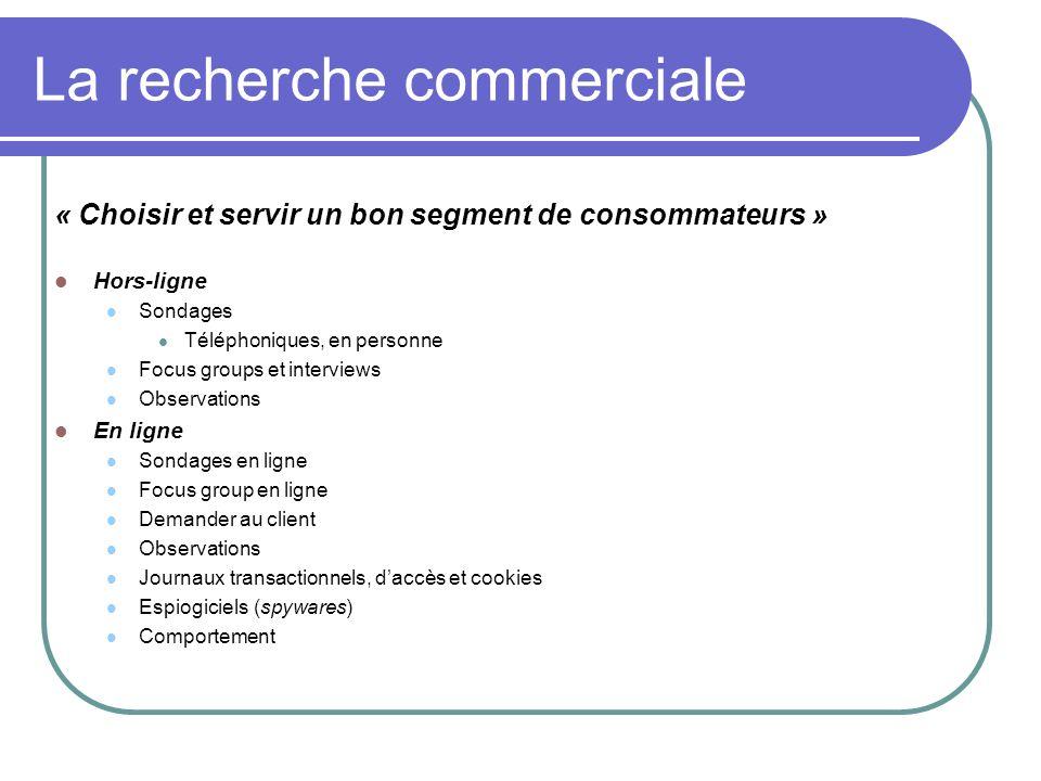 La recherche commerciale « Choisir et servir un bon segment de consommateurs » Hors-ligne Sondages Téléphoniques, en personne Focus groups et intervie