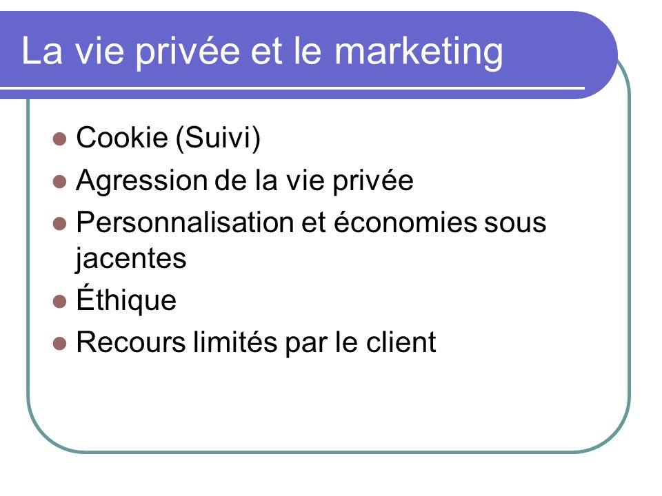 La vie privée et le marketing Cookie (Suivi) Agression de la vie privée Personnalisation et économies sous jacentes Éthique Recours limités par le cli
