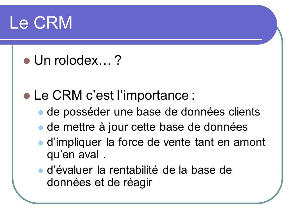 Le CRM Un rolodex… ? Le CRM cest limportance : de posséder une base de données clients de mettre à jour cette base de données dimpliquer la force de v