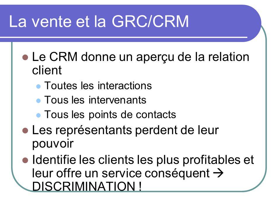 La vente et la GRC/CRM Le CRM donne un aperçu de la relation client Toutes les interactions Tous les intervenants Tous les points de contacts Les repr
