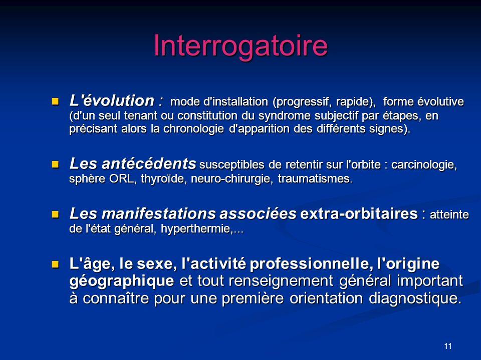 11 Interrogatoire L'évolution : mode d'installation (progressif, rapide), forme évolutive (d'un seul tenant ou constitution du syndrome subjectif par