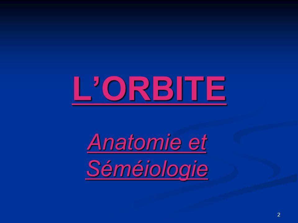 3 Anatomie de lOrbite Anatomie de lOrbite Cavité profonde de 45 à 50 mm, ouverte en avant et en dehors.
