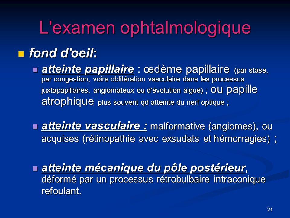 24 L'examen ophtalmologique fond d'oeil: fond d'oeil: atteinte papillaire : œdème papillaire (par stase, par congestion, voire oblitération vasculaire