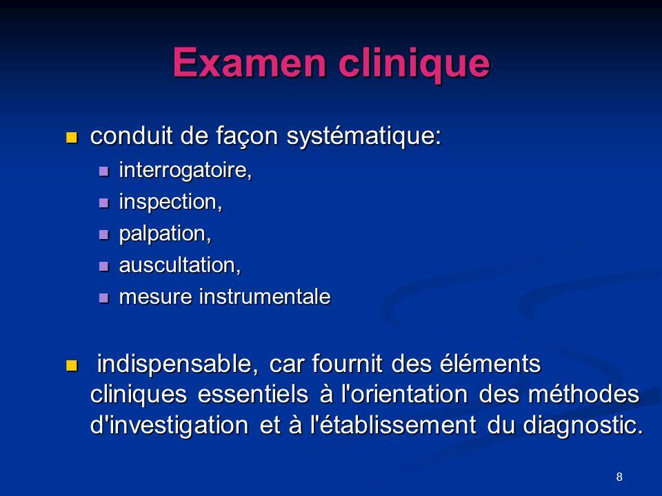 8 Examen clinique conduit de façon systématique: conduit de façon systématique: interrogatoire, interrogatoire, inspection, inspection, palpation, pal