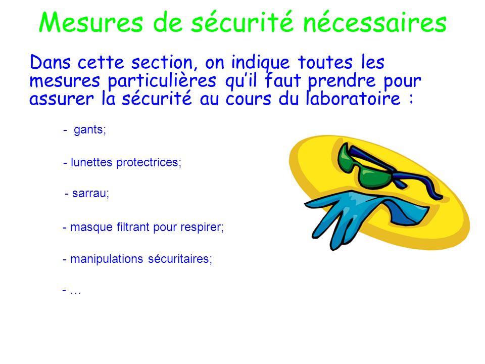 Mesures de sécurité nécessaires Dans cette section, on indique toutes les mesures particulières quil faut prendre pour assurer la sécurité au cours du