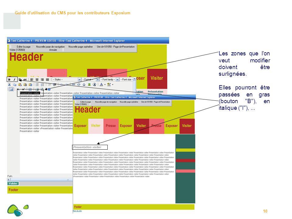 Guide d utilisation du CMS pour les contributeurs Exposium 10 Les zones que l on veut modifier doivent être surlignées.