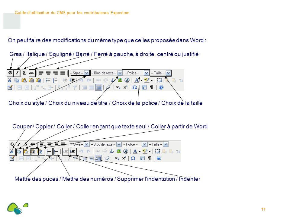 Guide d utilisation du CMS pour les contributeurs Exposium 11 On peut faire des modifications du même type que celles proposée dans Word : Gras / Italique / Souligné / Barré / Ferré à gauche, à droite, centré ou justifié Choix du style / Choix du niveau de titre / Choix de la police / Choix de la taille Couper / Copier / Coller / Coller en tant que texte seul / Coller à partir de Word Mettre des puces / Mettre des numéros / Supprimer l indentation / Indenter