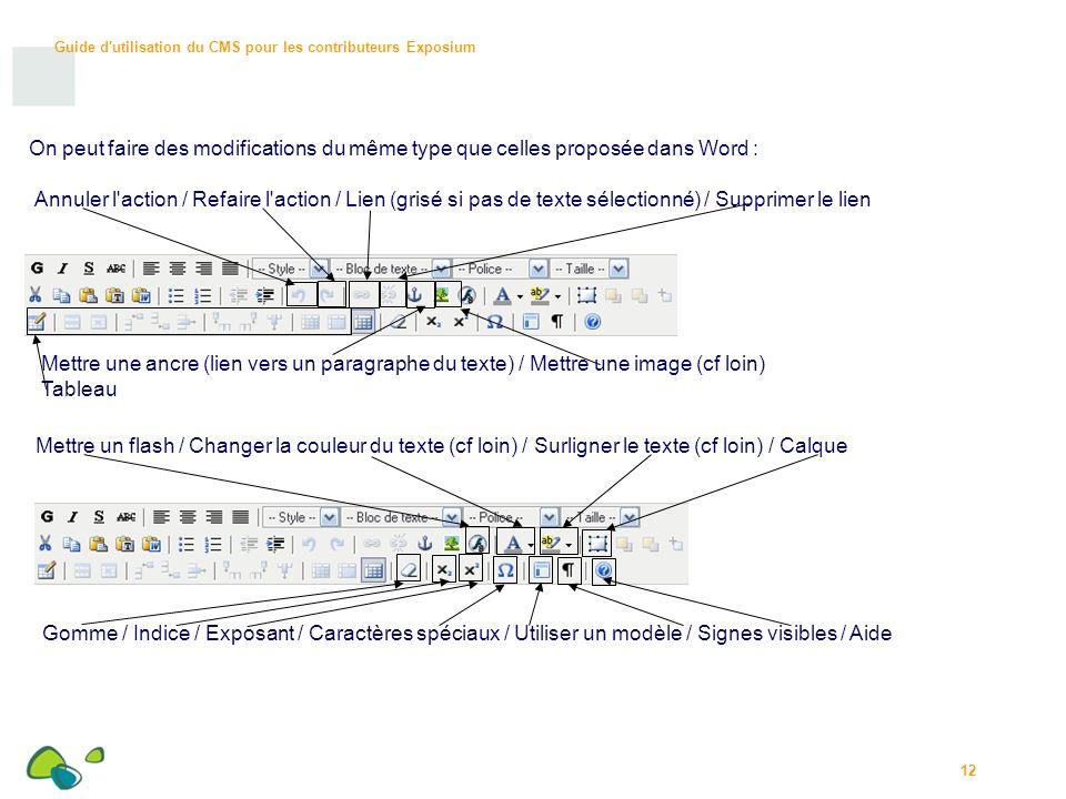 Guide d utilisation du CMS pour les contributeurs Exposium 12 On peut faire des modifications du même type que celles proposée dans Word : Annuler l action / Refaire l action / Lien (grisé si pas de texte sélectionné) / Supprimer le lien Mettre une ancre (lien vers un paragraphe du texte) / Mettre une image (cf loin) Tableau Mettre un flash / Changer la couleur du texte (cf loin) / Surligner le texte (cf loin) / Calque Gomme / Indice / Exposant / Caractères spéciaux / Utiliser un modèle / Signes visibles / Aide