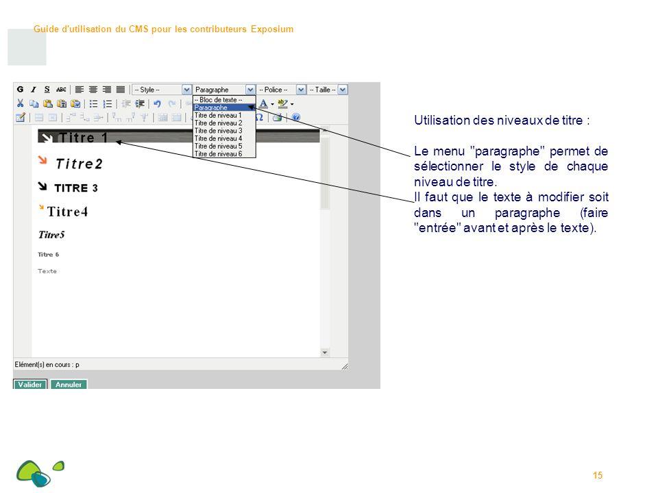 Guide d utilisation du CMS pour les contributeurs Exposium 15 Utilisation des niveaux de titre : Le menu paragraphe permet de sélectionner le style de chaque niveau de titre.