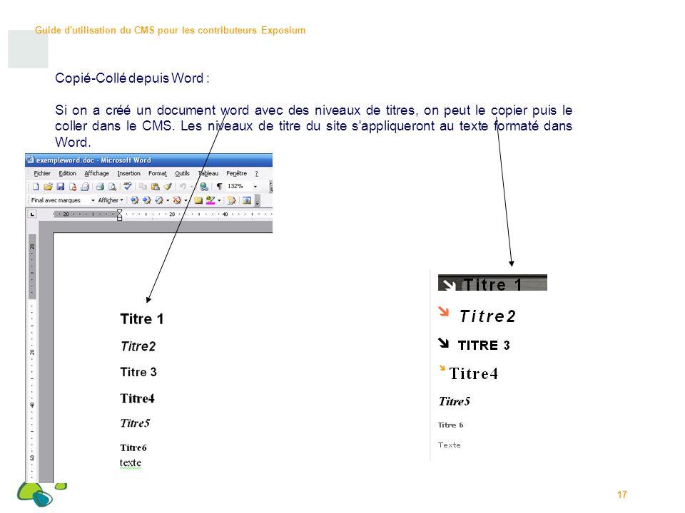 Guide d utilisation du CMS pour les contributeurs Exposium 17 Copié-Collé depuis Word : Si on a créé un document word avec des niveaux de titres, on peut le copier puis le coller dans le CMS.
