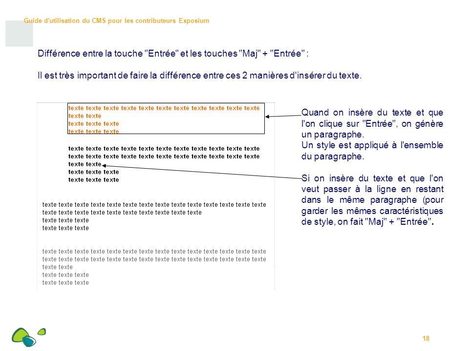 Guide d utilisation du CMS pour les contributeurs Exposium 18 Différence entre la touche Entrée et les touches Maj + Entrée : Il est très important de faire la différence entre ces 2 manières d insérer du texte.