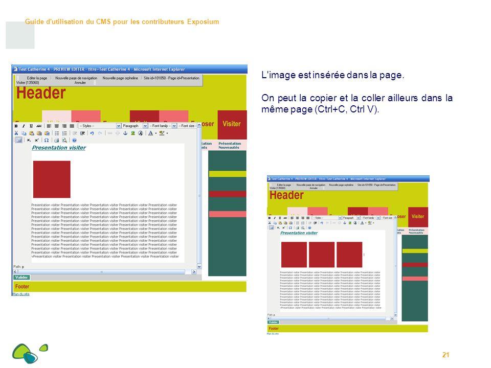 Guide d utilisation du CMS pour les contributeurs Exposium 21 L image est insérée dans la page.