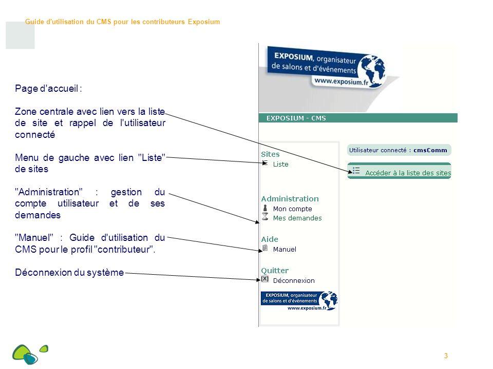 Guide d utilisation du CMS pour les contributeurs Exposium 4 Liste de sites / Cliquer sur le nom du site.