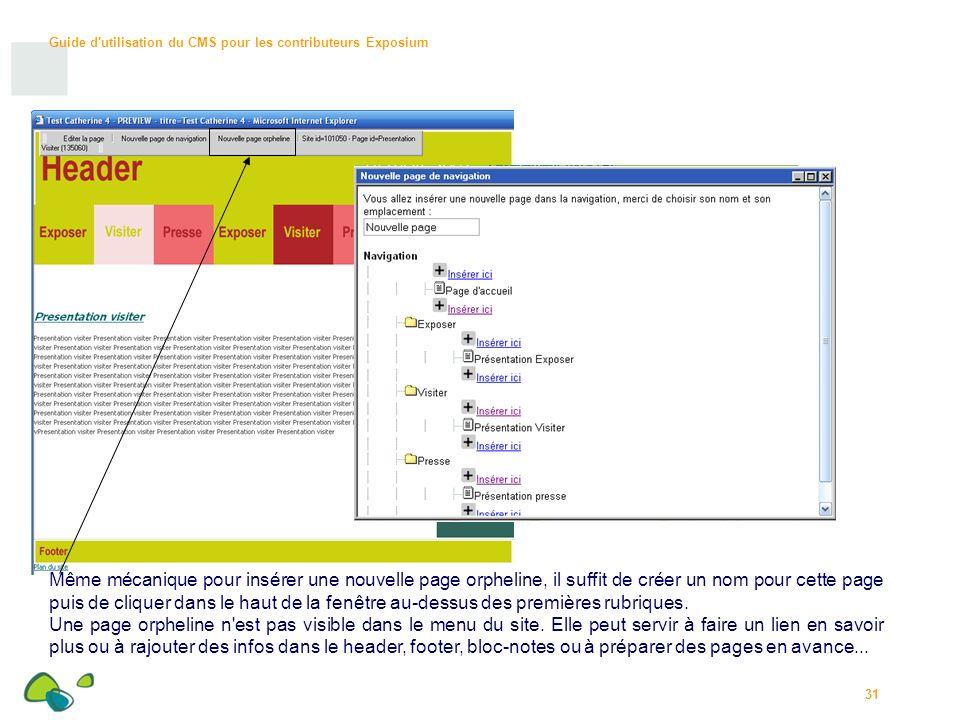 Guide d utilisation du CMS pour les contributeurs Exposium 31 Même mécanique pour insérer une nouvelle page orpheline, il suffit de créer un nom pour cette page puis de cliquer dans le haut de la fenêtre au-dessus des premières rubriques.