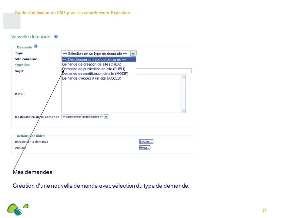 Guide d utilisation du CMS pour les contributeurs Exposium 37 Mes demandes : Création d une nouvelle demande avec sélection du type de demande.