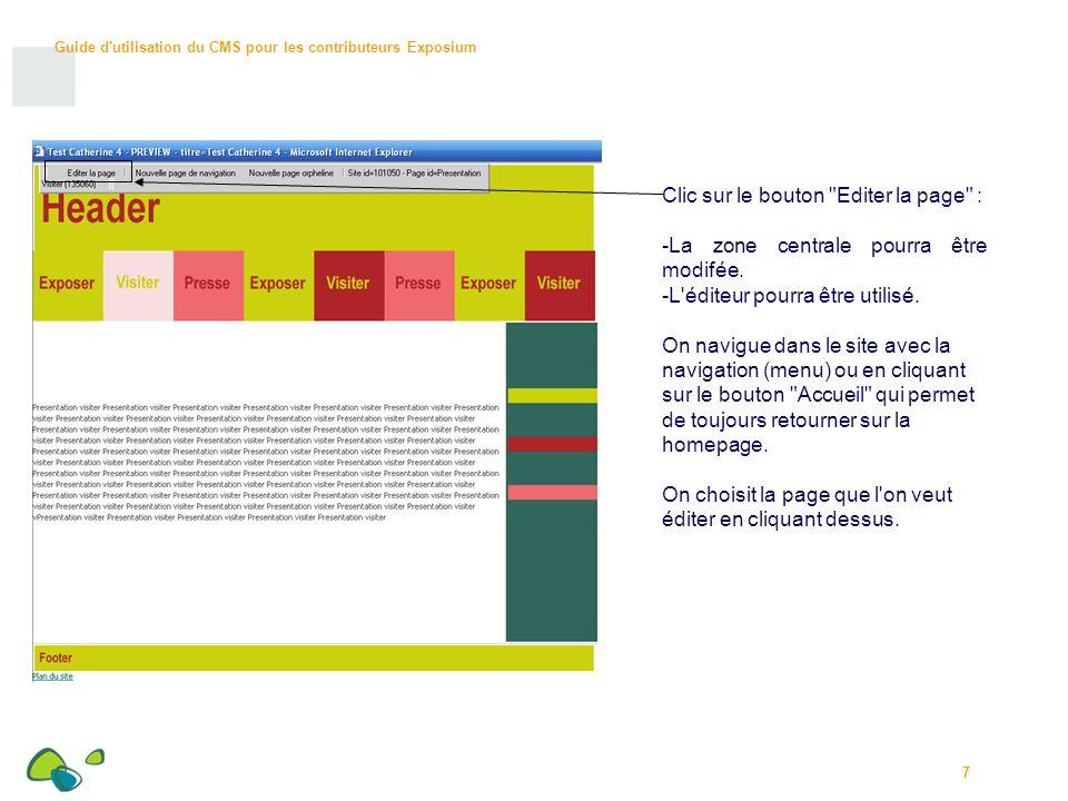 Guide d utilisation du CMS pour les contributeurs Exposium 28 MODELES : Sélectionner l icone modèle .