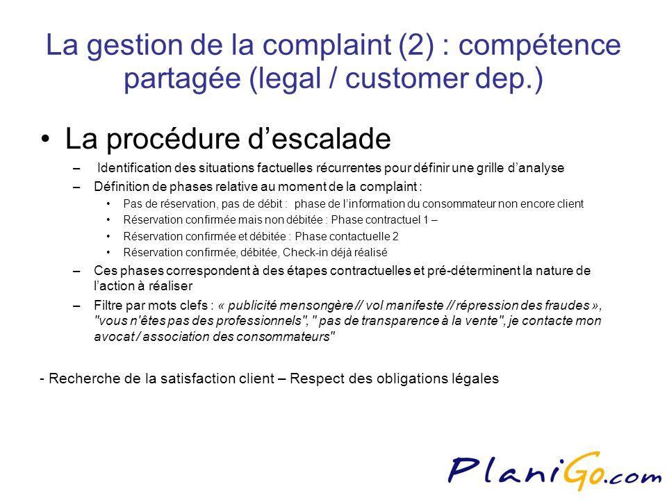 La gestion de la complaint (2) : compétence partagée (legal / customer dep.) La procédure descalade – Identification des situations factuelles récurrentes pour définir une grille danalyse –Définition de phases relative au moment de la complaint : Pas de réservation, pas de débit : phase de linformation du consommateur non encore client Réservation confirmée mais non débitée : Phase contractuel 1 – Réservation confirmée et débitée : Phase contactuelle 2 Réservation confirmée, débitée, Check-in déjà réalisé –Ces phases correspondent à des étapes contractuelles et pré-déterminent la nature de laction à réaliser –Filtre par mots clefs : « publicité mensongère // vol manifeste // répression des fraudes », vous n êtes pas des professionnels , pas de transparence à la vente , je contacte mon avocat / association des consommateurs - Recherche de la satisfaction client – Respect des obligations légales