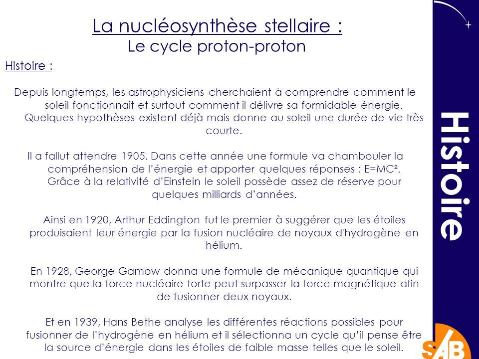 La nucléosynthèse stellaire : Le cycle proton-proton Histoire : Depuis longtemps, les astrophysiciens cherchaient à comprendre comment le soleil fonctionnait et surtout comment il délivre sa formidable énergie.