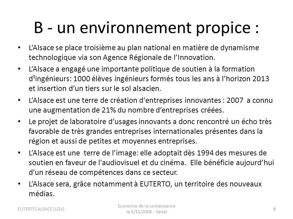 De plus… Au-delà de la présence, au sein du Living Lab EUTERTO Alsace: – dun incubateur de start-up SEMIA, – dun Centre Européen d Entreprise et d Innovation (CEEI), – et dune Agence Régionale de lInnovation (ARI), lAlsace est un territoire irrigué par les réseaux haut débit, Strasbourg est : – située sur le 3 ème axe mondial dInternet, – la 2ème ville française – et la 10ième ville européenne en termes de télécommunications, Lalsace est aussi la première région française à ériger laccès aux télécommunications haut débit en véritable service public.