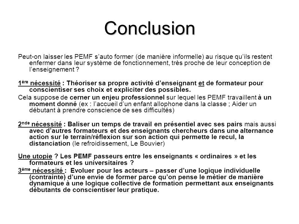 Conclusion Peut-on laisser les PEMF sauto former (de manière informelle) au risque quils restent enfermer dans leur système de fonctionnement, très proche de leur conception de lenseignement .