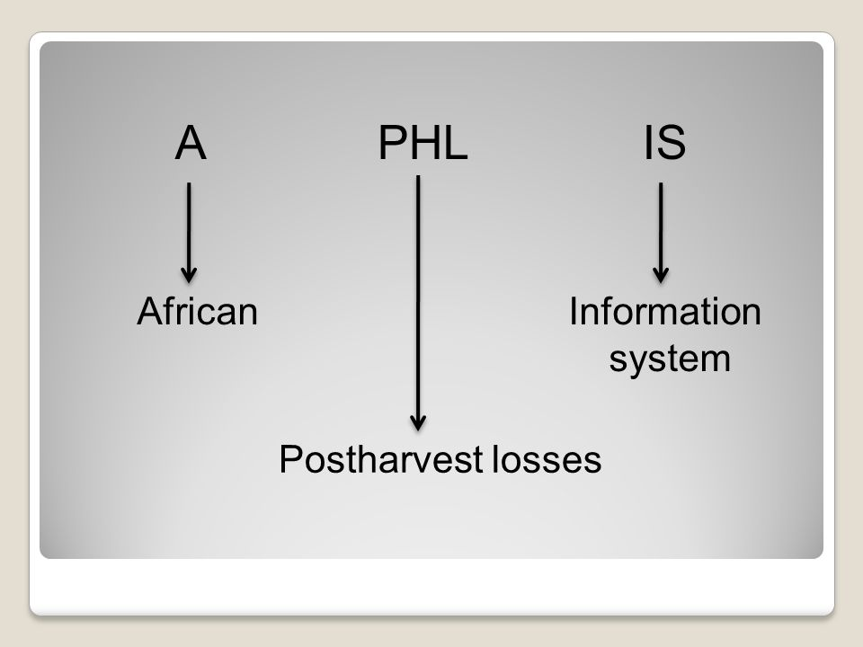 A PHL IS AfricanInformation system Postharvest losses