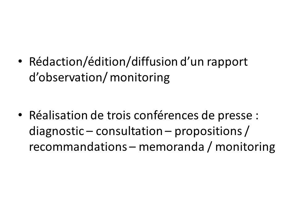 Rédaction/édition/diffusion dun rapport dobservation/ monitoring Réalisation de trois conférences de presse : diagnostic – consultation – propositions