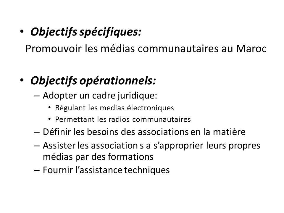 Objectifs spécifiques: Promouvoir les médias communautaires au Maroc Objectifs opérationnels: – Adopter un cadre juridique: Régulant les medias électr