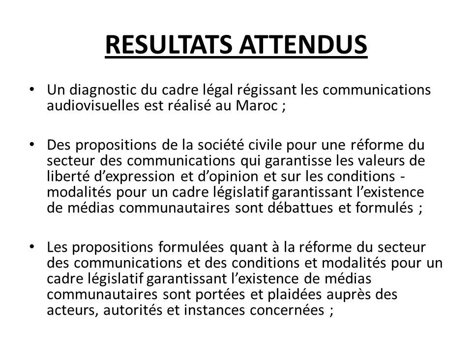 RESULTATS ATTENDUS Un diagnostic du cadre légal régissant les communications audiovisuelles est réalisé au Maroc ; Des propositions de la société civi
