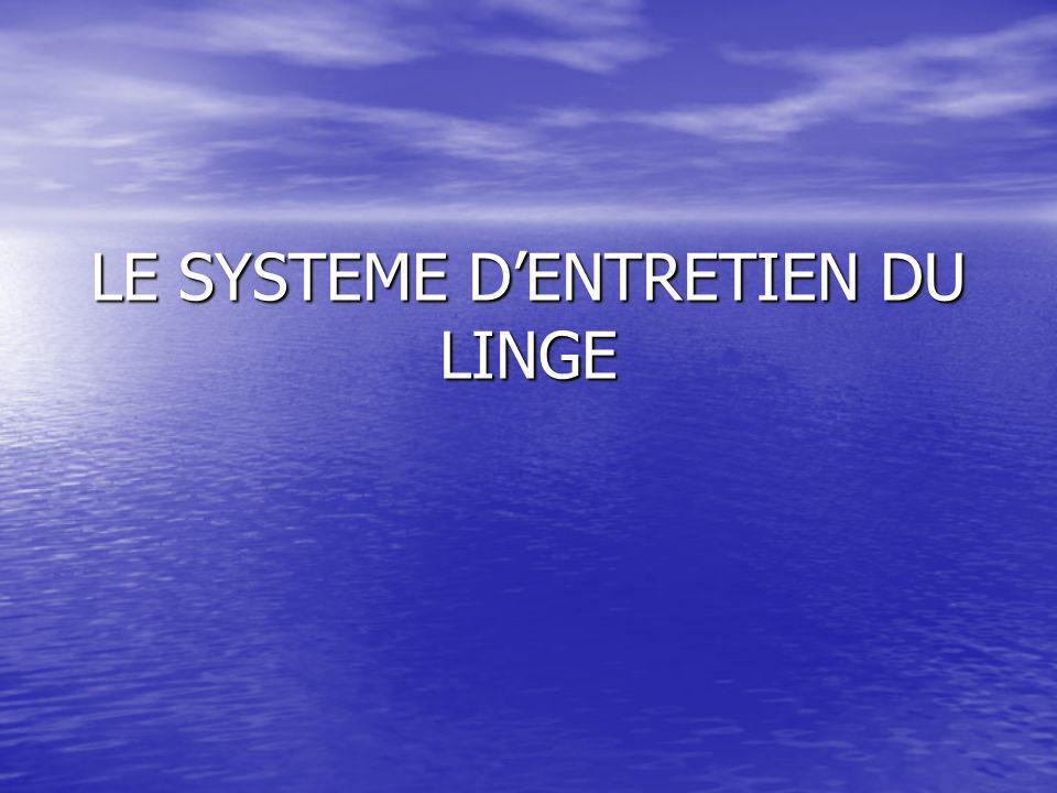 Définitions des besoins : quelle est la matière dœuvre sur laquelle agit le système dentretien du linge .