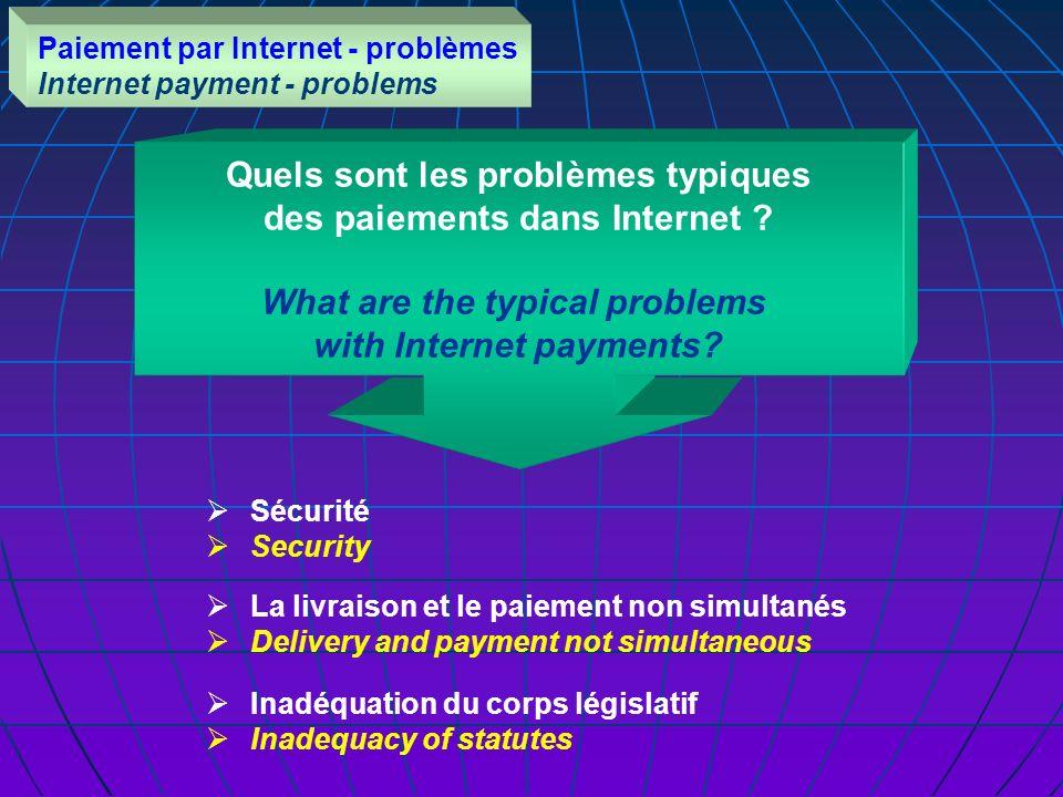 Quels sont les problèmes typiques des paiements dans Internet .